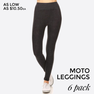 There's nothing better than a pair of soft, vintage wash, stretchy leggings. And this version features a moto design adds edgy appeal to your look for a sexy-sleek way to relax.   • Vintage Wash, Super Stretchy and Soft  • Moto Style Seaming  • Skinny Fit  • Pull-On Style  • Mid Rise  • Imported   Pack Breakdown: 6pcs/pack. 2SM: 2ML: 2LXL