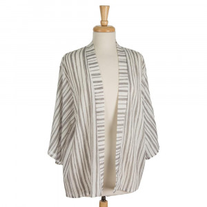 Lightweight, 3/4 length sleeve kimono with a striped pattern. 100% polyester. One size fits most.