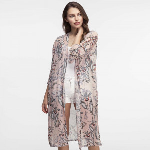 Lightweight, flutter sleeve kimono with a paisley print. 100% polyester. One size fits most.