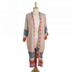 Lightweight, short sleeve kimono with an abstract print. 100% viscose. One size fits most.