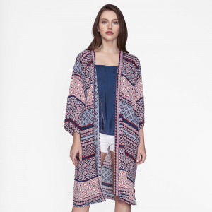 Lightweight, navy blue, short sleeve kimono with an abstract print. 100% polyester. One size fits most.