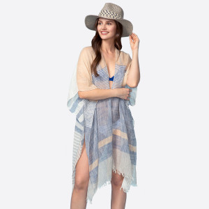 Lightweight, linen short sleeve striped kimono. 60% viscose and 40% polyester. One size fits most.