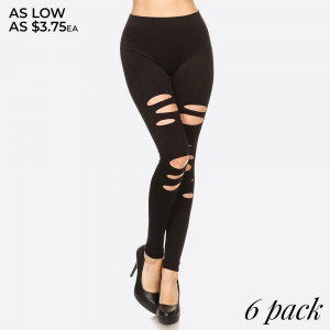 Step Into A Legging Darling With Attitude. Flatteringly Tight And Comfortably Stretchy, Our Slimming Slashed Leggings are Built To Please. The High Rise And Ripped Design Gives It A Little Extra Oomph.   • Elastic Waistband  • Long, Skinny leg design  • Distressing accents on front  • Pull Up Style  • High Waisted  • Pull-on styling  • Nylon/Spandex  • Hand Wash Cold. Do not bleach. Hang Dry  • Imported   Composition: 92% Nylon, 8% Spandex   Pack Breakdown: 6pcs/pack. ONE SIZE