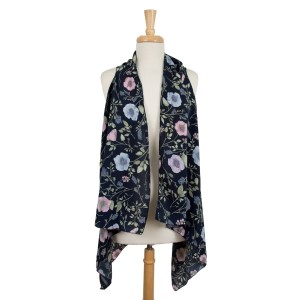 Lightweight vest with a muted, floral print. 100% polyester. One size fits most.