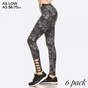 FLORAL PRINT, FULL LENGTH FITTED ACTIVEWEAR STYLE PANTS WITH HIGH BANDED WAIST AND SIDE ANKLE CROSS STRAP DETAIL CUTOUTS.   SIZE: S-M-L-XL (1-2-2-1) PACKAGE:6PCS/PREPACK 94% POLYESTER 6% SPANDEX