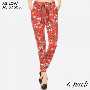 FLORAL PRINT, LOOSE FIT SEMI HAREM PANTS WITH POCKETS ON SIDES AND A FRONT SELF TIE.   SIZE:S-M-L-XL(1-2-2-1) PACKAGE:6PCS/PREPACK 92%POLYESTER  8%SPANDEX