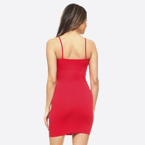 This is your seamless solid color casual go-to comfortable dress/top with Spaghetti Straps. This is a great dress/top for layering or simply just worn plain with accessories.   - Long Cami Top  - Round Neckline  - Spaghetti Straps  - Body Contouring - Figure Hugging - Solid Color  - Comfortable  - Super Soft  - Stretchy   One Size Fits Most 0-14  Composition: 92% Nylon, 8% Spandex