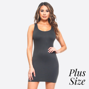 The traditional ribbed tank dress is in for the long haul with memory fibers that hugs those curves like an hour glass. Extended hemline ends above the knee in the classic mini styling boy dress.   - Round Neckline  - Sleeveless - Long Camisole - Mini Dress  - Body Contouring - Figure Hugging - Solid Color  - Comfortable - Super Soft  - Stretchy   One Size Fits Most Plus 16-22  Composition: 92% Nylon, 8% Spandex