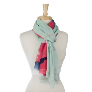Lightweight, open scarf with a floral print. 100% polyester.