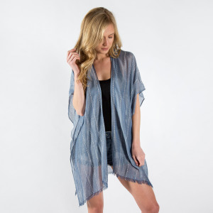 Lightweight, short sleeve kimono with embroidery. 35% viscose and 65% polyester. One size fits most.