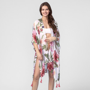Lightweight, short sleeve kimono with a floral print and tassel accent. 100% polyester. One size fits most.