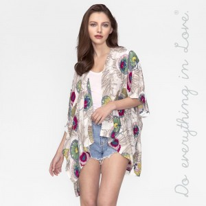 Lightweight, short sleeve kimono with an floral print. 100% viscose. One size fits most.