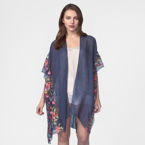 Lightweight, short sleeve kimono with floral embroidery. 35% viscose and 65% polyester. One size fits most.