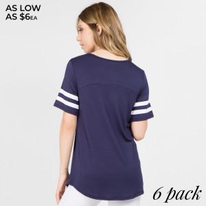 This soft, jersey knit tee is a home run in athleisure style! A crew neckline and short sleeves rock that sporty ringer look, while double stripe details add a fun football-inspired finish. Straight hem rounds out the look, add a pair skinny jeans and ankle booties for a sporty chic look.   • Relax Fit  • Bateau Neckline  • Rounded-Hemline  • Short Sleeve  • Stretchy  • Imported   Composition: 95% Rayon, 5% Spandex   Pack Breakdown: 6pcs/pack. 2S: 2M: 2L