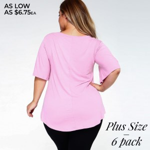 Show up to your next Summer party in this stylish staple featuring short bell sleeves, a crew-neck, and a relaxed fit. The soft, stretch knit fabric is breathable and lightweight making it comfortable for all day wear. Complete the look with a sleek pair of leggings or your favorite denim with heels.   • Crew-neck  • Short sleeves  • Loose-fit bodice  • Pullover styling  • Curved hemline  • Super Soft  • Imported   Content: 95% Rayon, 5% Spandex   Pack Breakdown: 6pcs/pack. 2XL: 2XXL: 2XXXL