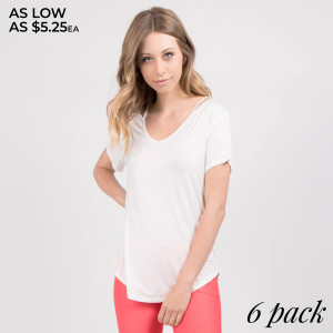 A lightweight, stretch-jersey top that features a stylish slendering sleeve cutout giving a modern point of view to a cool-weather classic.   • Crew Neckline  • 3/4 Sleeves w/ Cut Out Detail • Soft, Light-Weight Jersey  • Relaxed Fit Through Body  • Import   Care: Hand Wash Cold. Tumble Dry. Iron Low. Do not Dry Clean.   Content: 95% Rayon 5% Spandex   Pack Breakdown: 6pcs/pack. 2S: 2M: 2L