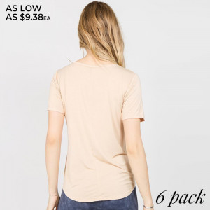 In a soft tri-blend fabrication with moisture-wicking properties to keep you cool - this active top features an asymmetrical hem with slits throughout - allowing you to create an effortless - wrapped look.   - V-neckline  - Short Sleeves  - Open Front Cross w/Tie Closure  - Super Soft  - Stretchy  - Imported   Composition:   Pack Breakdown: 6pcs/pack. 2S: 2M: 2L