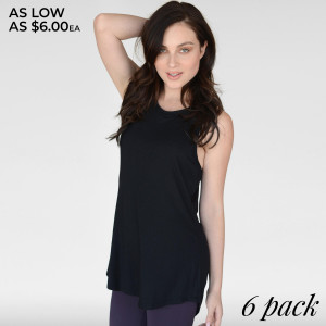 The Women's Cowl-Back Top is our answer to the ever-persistent clock. Our top will take you from yoga to meetings in comfort as you flow through your busy day. Throw this on over your teardrop bra and immediately be shrouded in effortless style or you can add a sports bra for a day at the gym.  • Open cowl back  • Racer Back  • Relaxed fit  • High-low Hemline  • Sleeveless  • Round Neckline  • Imported   Content: 95% Rayon, 5% Spandex   Pack Breakdown: 6pcs/pack. 2S: 2M: 2L