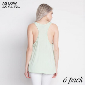 """Add some flair to your style in this Women's Flare Tank with """"FEATHER"""" design, you'll love its delicate gathered racerback detail, its flare bottom, how effortlessly it falls onto your body, as well as its ultra soft to the touch feel. Both comfortable and stylish, this versatile tank is perfect for your day-to-day, whether you're working out, on vacation, running errands, or relaxing at home.   - Round Neckline  - Sleeveless  - Racerback  - Closure Style: Pullover  - Rayon/Spandex  - Machine wash; lay flat to dry  - Import   Content: 95% Rayon, 5% Spandex   Pack Breakdown: 6pcs/pack. 2S: 2M: 2L"""