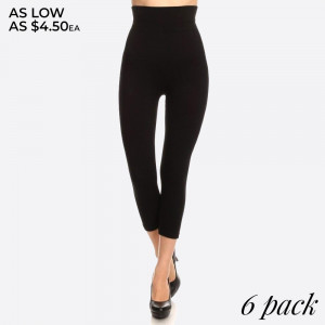 """High waist compression capri legging. Tummy control for extra hold. These high waist vapri leggings have a compression control top that flattens your tummy and contours your waistline for an hourglass silhouette.   - Skinny leg design  - Does not ball or pill  - Comfortable and easy pull-on style  - Solid color  - Very Stretchy  - One Size Fits Most  - Tummy Control  - Hight Waist  - 8"""" Waist Band   Content: 55% viscose, 40% polyester, 5% spandex  One size fits most.  Pack Breakdown: 6pcs/pack"""