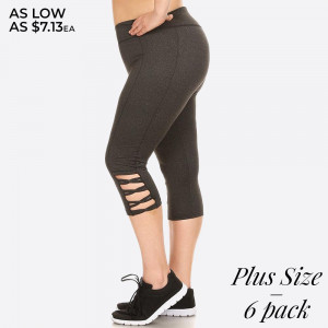 Capri length sport legging with cutout leg design and elastic waistband. Overlock stitching detail.  Size: 1XL, 2XL, 3XL (2-2-2) 6pcs  Capri: 6pcs/Prepack 92% Polyester, 8% Spandex Mesh: 90% Polyester, 10% Spandex
