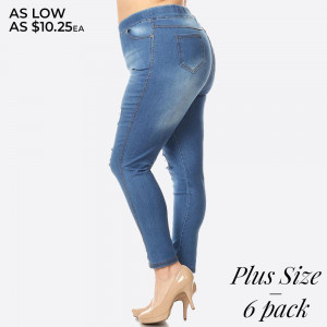 Women's Classic Distressed Skinny Jeggings. These jeggings are styled to resemble a pair of jeans. Get both comfort and style!