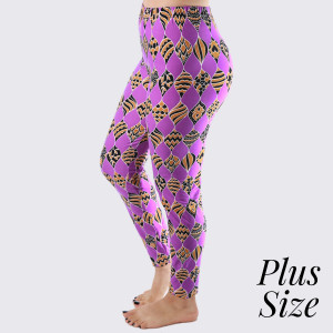 "PLUS SIZE - New Kathy / New Mix printed peach skin leggings are seamless, chic, and a must-have for every wardrobe. These lightweight, full-length leggings have a 1"" waistband. They are versatile, perfect for layering, and available in many unique prints. 92% Polyester and 8% Spandex. One size, fits US women's 16-20."