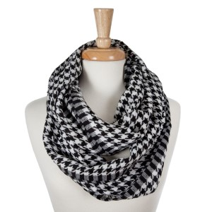 Lightweight knitted houndstooth infinity scarf.