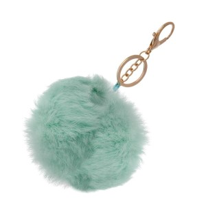 "4"" mint green rabbit fur pom pom."