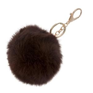 Chocolate brown faux fur pom pom keychain.