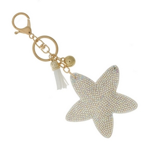 """Star key chain and bag charm. Approximately 6"""" in total length."""