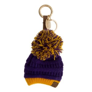 """The original C.C beanie style keychain and bag charm, with a two tone pom pom, in gameday colors. 9"""" in total length."""