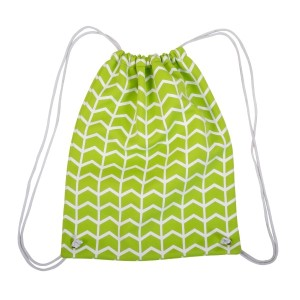 """Neoprene drawstring bag with a lime green and white pattern. Perfect for monogramming! This bag measures 14"""" x 18"""" and has a 22"""" strap drop with open."""