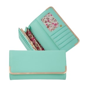"""Mint green bi-fold wallet with a snap closure and gold tone hardware. Approximately 8"""" x 4"""" x 1"""""""