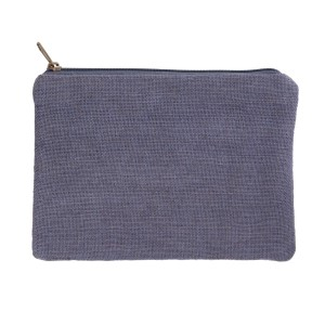 "Gray burlap pouch with top zipper closure and lined inside. Approximately 7"" tall x 9"" wide. Great for monogramming!"