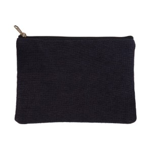 "Black burlap pouch with top zipper closure and lined inside. Approximately 7"" tall x 9"" wide. Great for monogramming!"