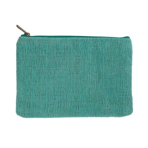 "Mint burlap pouch with top zipper closure and lined inside. Approximately 7"" tall x 9"" wide. Great for monogramming!"