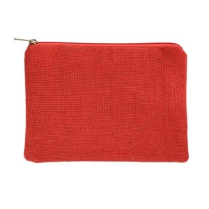 "Red burlap pouch with top zipper closure and lined inside. Approximately 7"" tall x 9"" wide. Great for monogramming!"