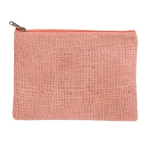 "Mauve pink burlap pouch with top zipper closure and lined inside. Approximately 7"" tall x 9"" wide. Great for monogramming!"