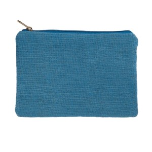 "Blue burlap pouch with top zipper closure and lined inside. Approximately 7"" tall x 9"" wide. Great for monogramming!"