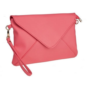"""Coral, faux leather envelope clutch that features removable wrist and crossbody straps, top zipper closure, inside open and zippered compartments and a fold over flap with snap closure. Measures approximately 11"""" x 8"""" and is perfect for monogramming!"""