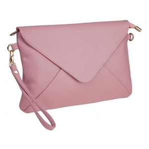 "Rose pink, faux leather envelope clutch that features removable wrist and crossbody straps, top zipper closure, inside open and zippered compartments and a fold over flap with snap closure. Measures approximately 11"" x 8"" and is perfect for monogramming!"