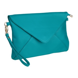 """Turquoise, faux leather envelope clutch that features removable wrist and crossbody straps, top zipper closure, inside open and zippered compartments and a fold over flap with snap closure. Measures approximately 11"""" x 8"""" and is perfect for monogramming!"""