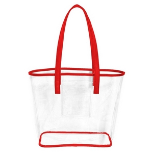 "Stadium approved, clear PVC tote bag trimmed in your favorite team's color! Measures 12"" x 12"" x 4.5"" in size and has an inner pocket for storage."