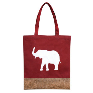 "Crimson canvas and cork tote bag printed with a white elephant design . Measures 16"" x 14"" in size with an 8"" handle drop."