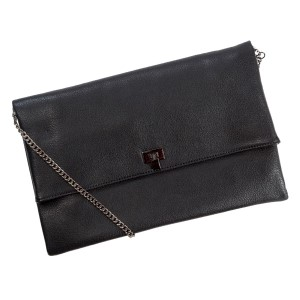 "Faux leather handbag/clutch with multiple interior pockets with a zipper and magnetic closure. Also comes with a chain shoulder strap of 18"" in length. Measures 13"" x 8"" in size."