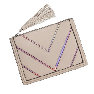 "Faux leather hologram accented clutch with a zipper closure and interior pockets. Measures 11.5"" x 8.5"" in size."