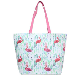"Flamingo printed tote bag with a top zipper closure and a lined inside with pockets. 50% PU leather and 50% linen. Measures 20"" x 14"" in size."
