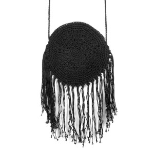 """Woven soft cord bag with lined zipper pouch. Approximately 8"""" in diameter, 18"""" strap, and 6"""" fringe."""