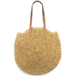 """Woven raffia bag with magnetic closure lined pouch. Approximately 18"""" in diameter with a 12"""" faux leather strap."""